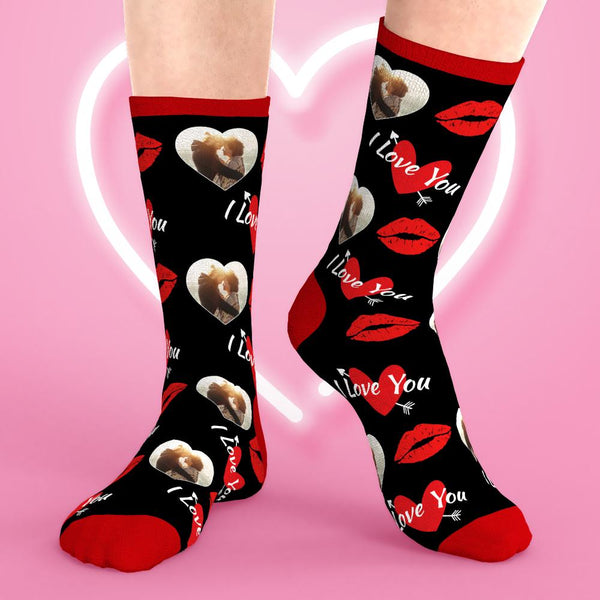 Custom Face Socks Valentine's Day Kiss Crew Socks