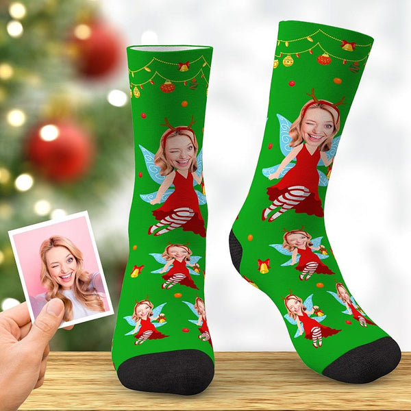 Custom Christmas Elf Face Socks Xmas Angel Socks Christmas Gifts
