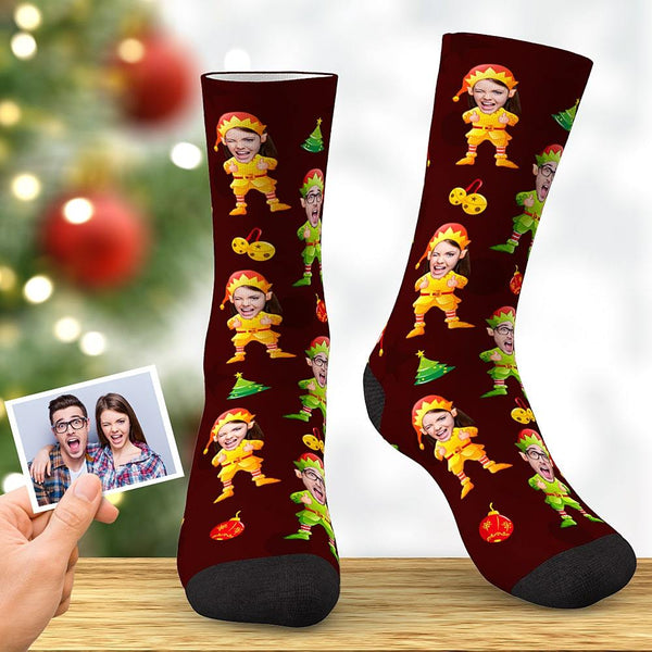 Custom Christmas Elf Face Socks Best Christmas Gifts