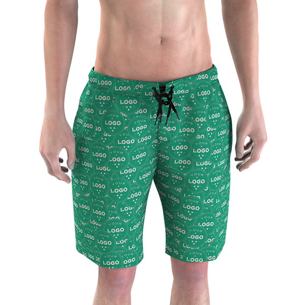 Custom Men's Green Swim Trunk with Your Logo