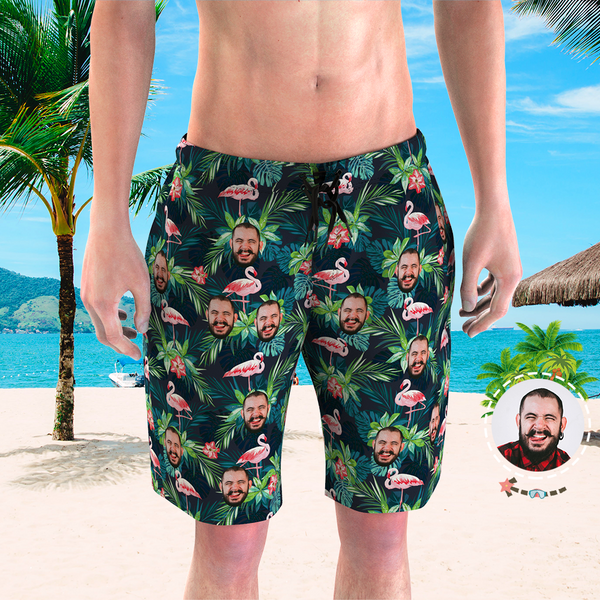 Men's Custom Face Beach Trunks Flamingo Shorts