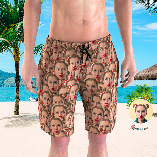 Men's Custom Face Beach Trunks Photo Shorts