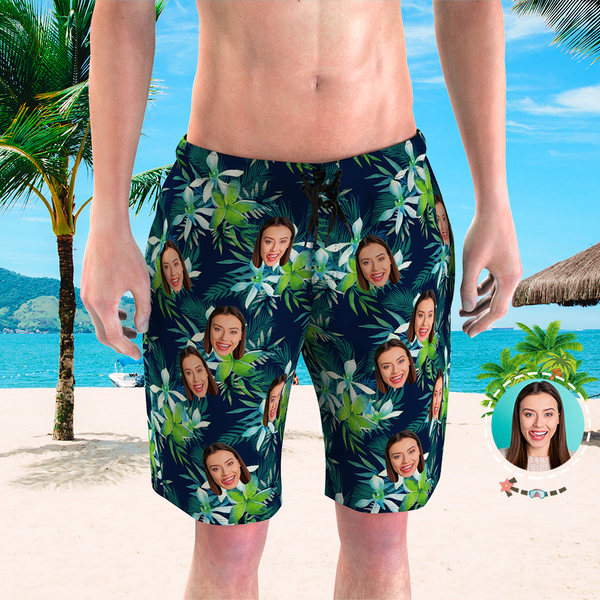 Men's Custom Face Beach Trunks Photo Shorts - Coconut tree