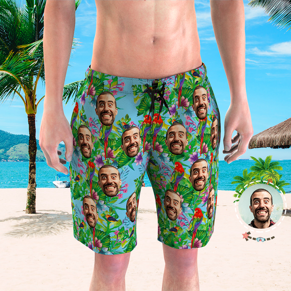 Men's Custom Face Beach Trunks Photo Shorts - Rainforest