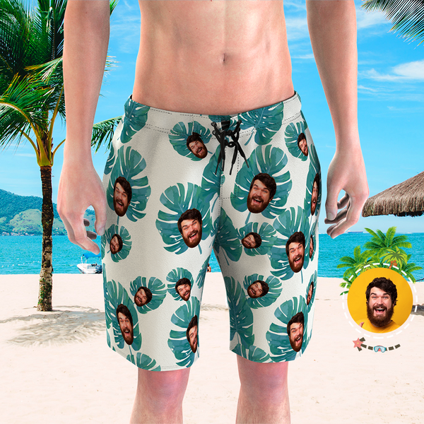 Men's Custom Face Beach Trunks Photo Shorts - Pineapple