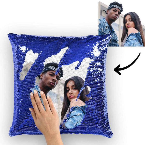 Custom Photo Magic Sequin Pillow Blue