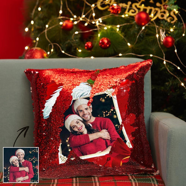 Custom Magic Sequins Pillow Couple Photo Pillowcase | Christmas Gifts