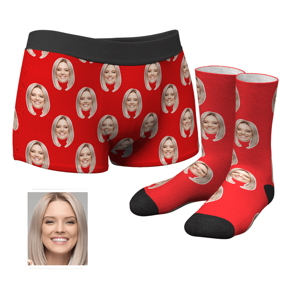 Men's Custom Photo Boxer Shorts and Photo Socks Set | Colorful