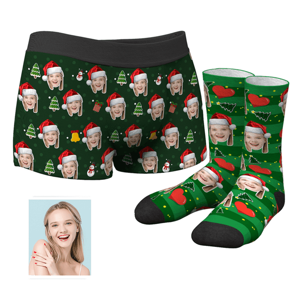Men's Christmas Face Boxer Shorts and Face Socks Set