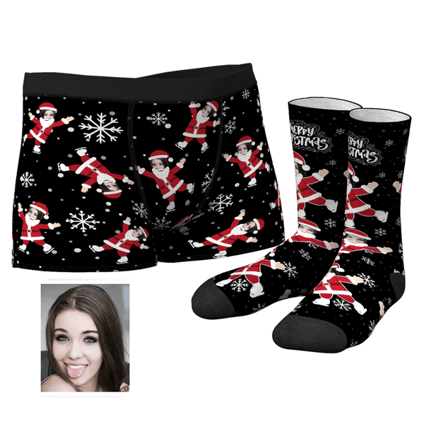 Men's Christmas Face on Body Boxer Shorts and Socks Set