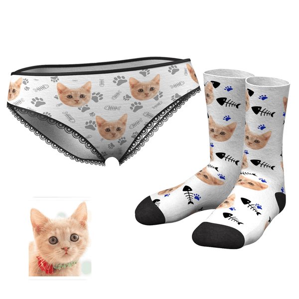 Women's Custom Cat Face Panties and Photo Socks Set