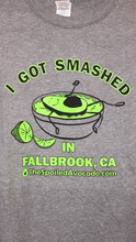 "Load image into Gallery viewer, ""I Got Smashed in Fallbrook"" men's T-shirt, light grey"