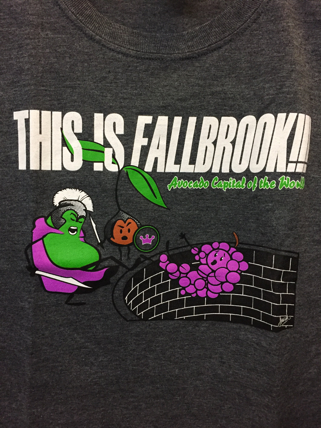 """This is Fallbrook!!! Avocado Capital of the World "" grey crew neck T-shirt"