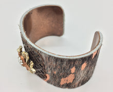 "Load image into Gallery viewer, 1/2"" Copper Cuff bracelet, pony hair over copper leather with silver bee and copper baby bee; handset Swarovski crystals, vintage, repurposed"