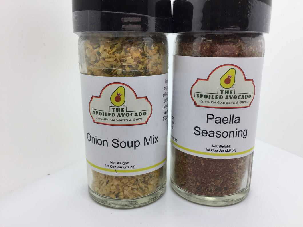 The Spoiled Avocado spices, Nutmeg, Onion Soup Mix, or Paella Seasoning