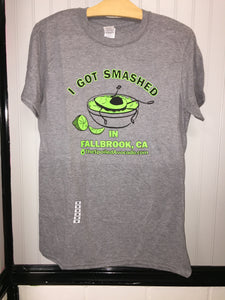"""I Got Smashed in Fallbrook"" men's T-shirt, light grey"