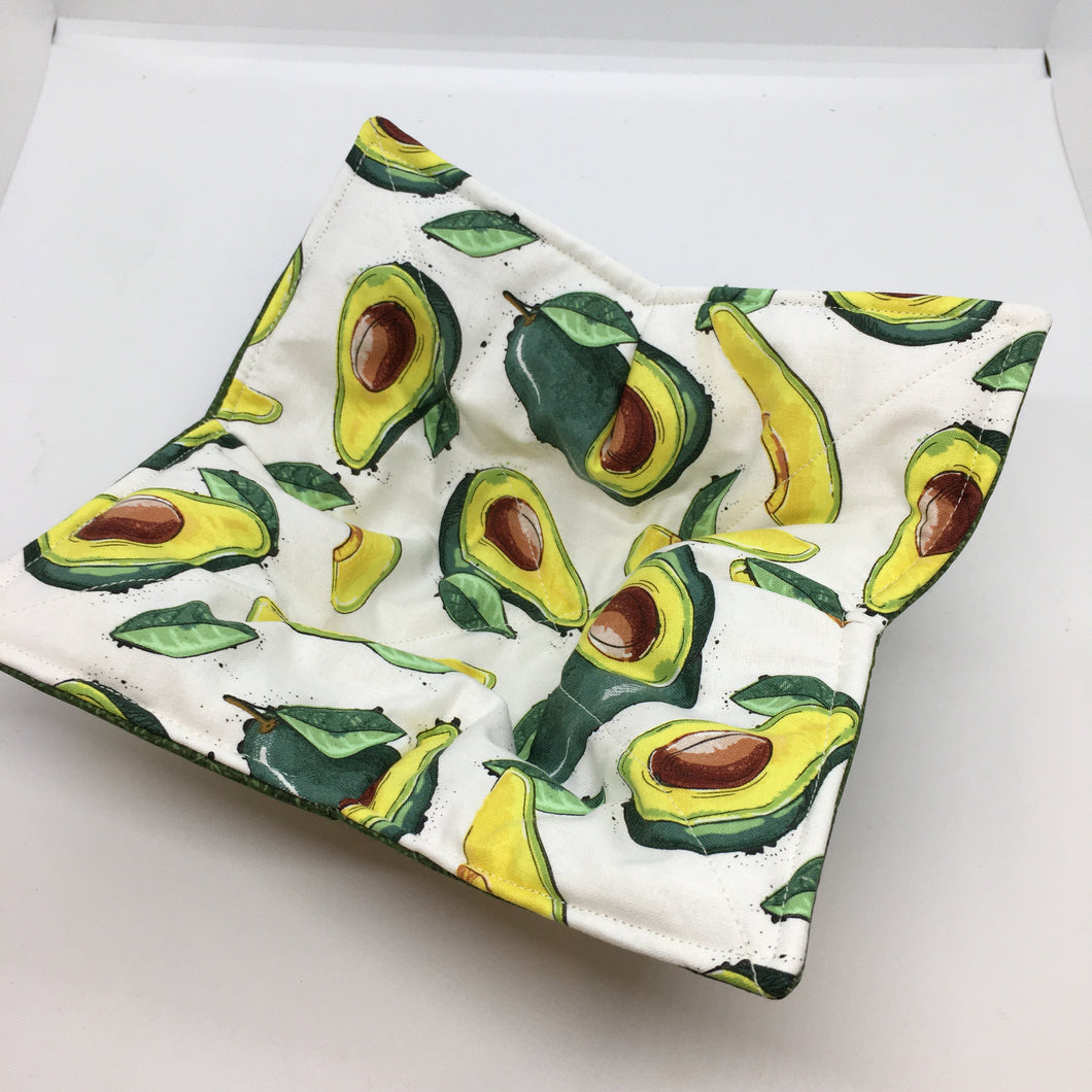 Microwaveable bowl cozy, avocado print on white background