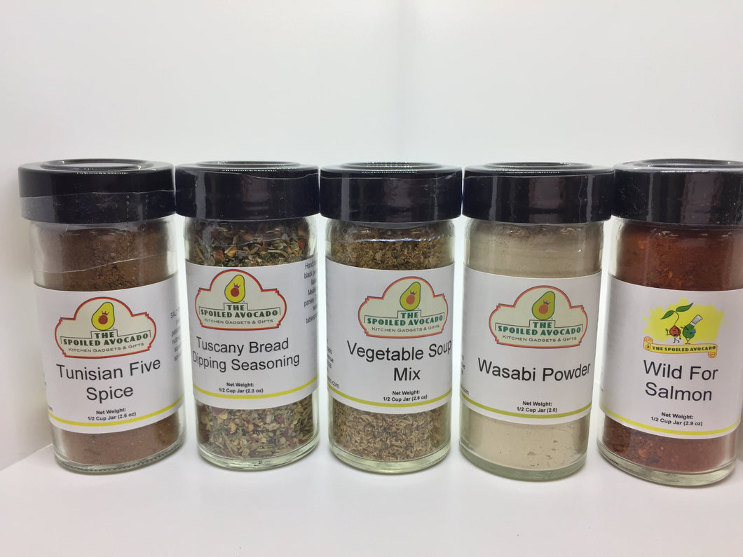The Spoiled Avocado spices, Tuscany Bread Dipping Sauce, Vegetable Soup mix, Wasabi Powder, or Wild for Salmon
