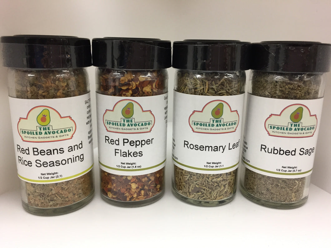 The Spoiled Avocado spices, Red Beans and Rice Seasoning, Red Pepper Flakes, Roasted Vegetable Seasoning, Rosemary Leaf or Rubbed Sage