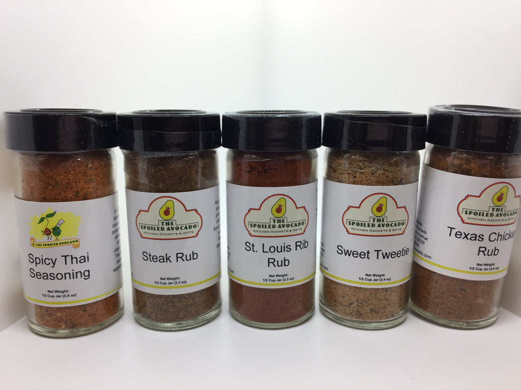 The Spoiled Avocado spices, Steak Rub, St. Louis Rib Rub, Sweet Tweetie, or Texas Chicken Rub