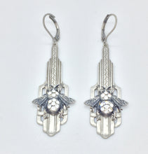 Load image into Gallery viewer, Art deco inspired silver drop earrings with bumble bee, handset crystals