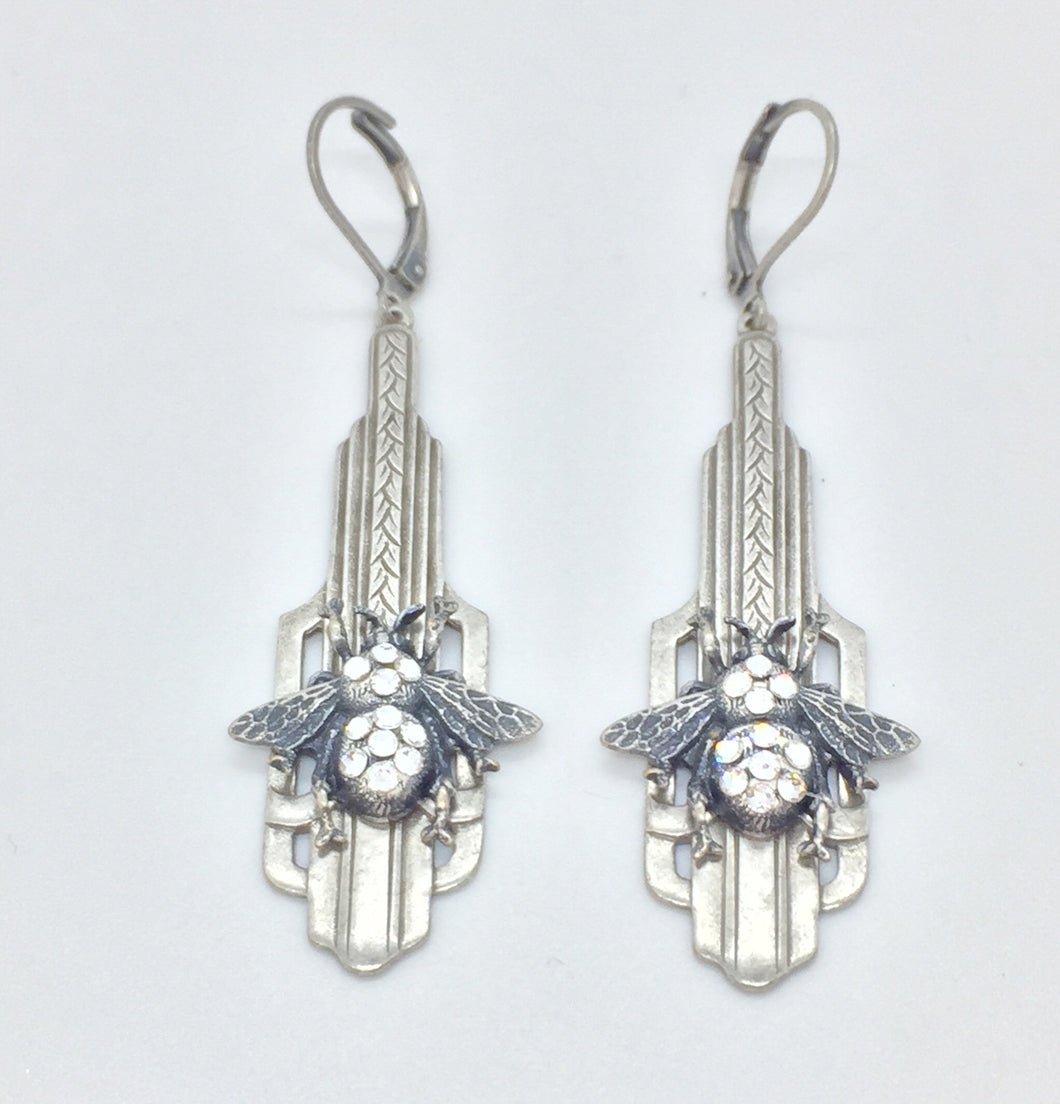 Art deco inspired silver drop earrings with bumble bee, handset crystals