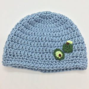 Crocheted baby hat with avocado, 0-6 months