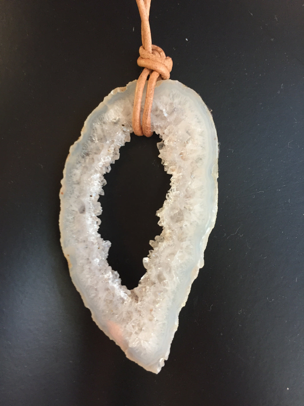Geode stone on leather necklace