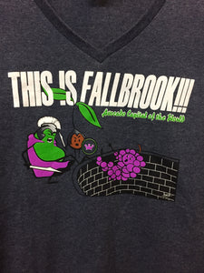 """This is Fallbrook!!! Avocado Capital of the World"" Women's V-neck T-shirt, Dark Blue"