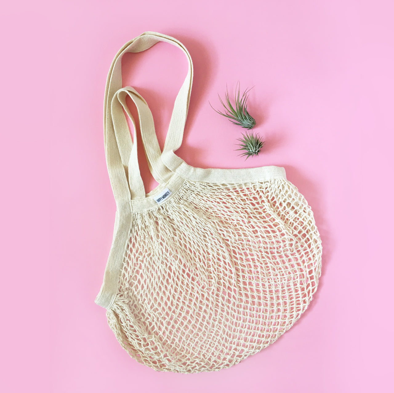 100% Organic Cotton String Net Market Bag with Double Handle