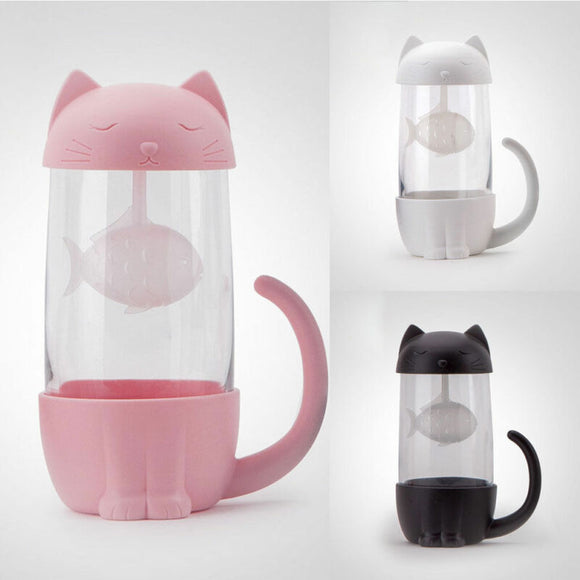 Lovely Cat Glass with Tea Infuser