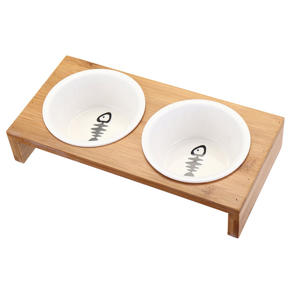 Bamboo Duo Elevated Cat Bowl