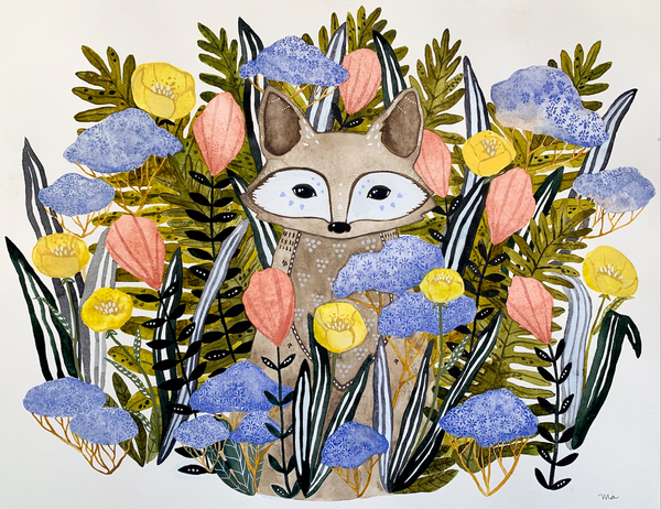"""Wildflower Fox Taos"" Original Painting"