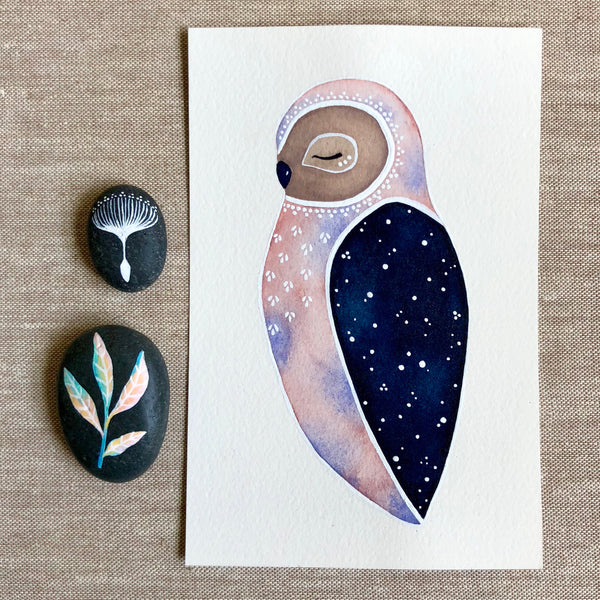 Starlight Owlet Original Painting