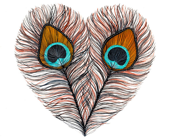 Peacock Feather Heart Art Print