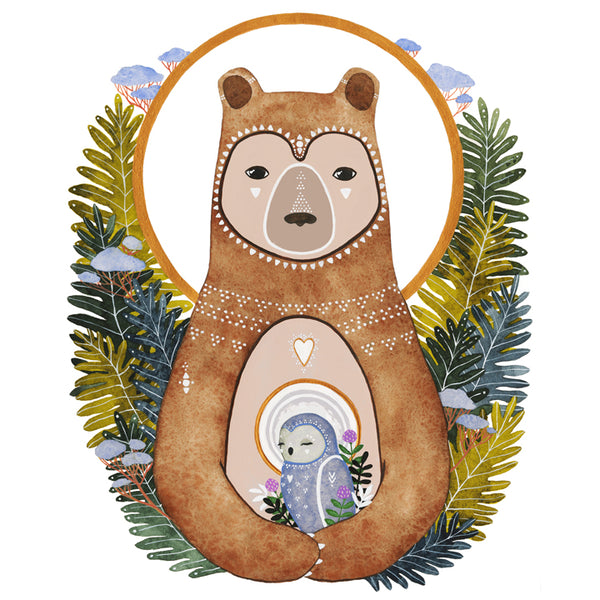 Spirit Bear and Owl Art Print