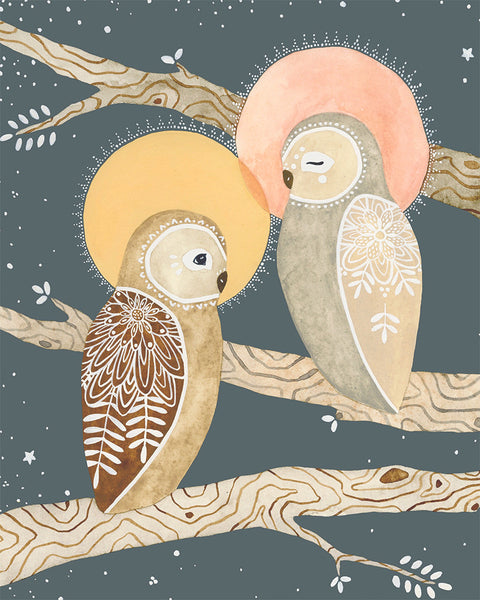 Spirit Owls Art Print