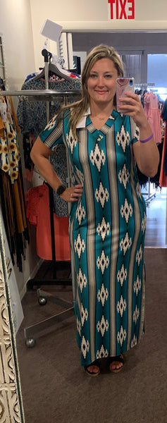 Plus Size Crazy Train Aztec Dress