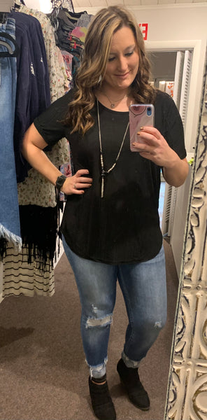 Plus Size Black Top with Necklace