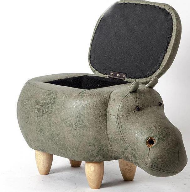 Bestsellrz® Animal Hippo Storage Ottoman Stool - Happy-Hippo™ Stools & Ottomans Green with Storage Happy-Hippo™