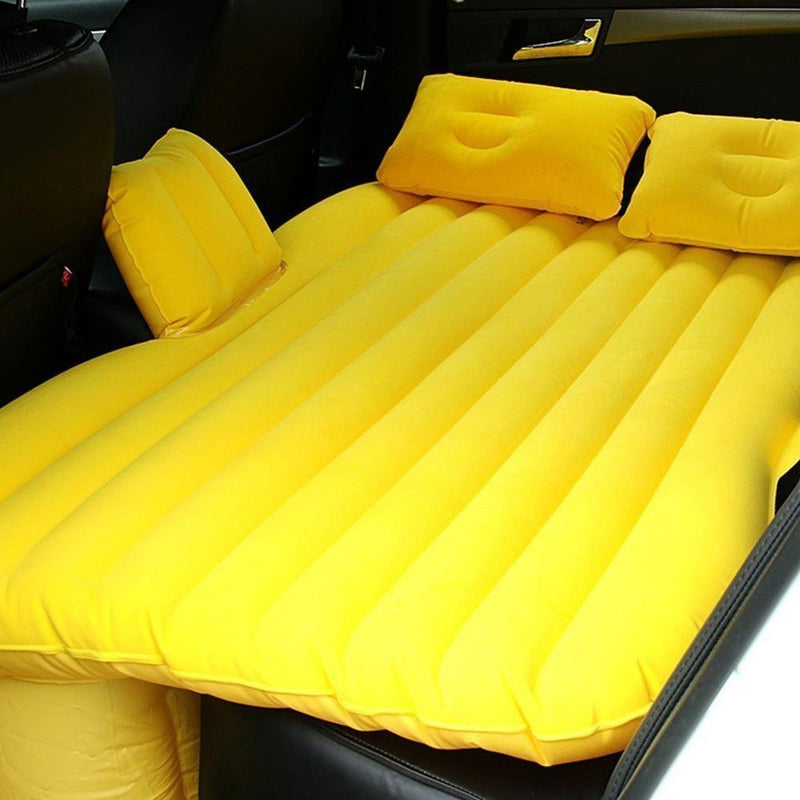 Bestsellrz® Back Seat Inflatable Car Bed  Air Mattress For Truck Camping Cab Bed  - Bedzy™ Car Travel Bed Yellow Bedzy™