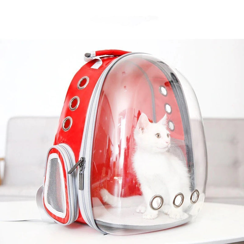 Bestsellrz® Cat Backpack Bag Carrier See Through Cat Carrying Backpack for Dogs - DEN™ Pet Carriers Red DEN™