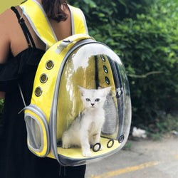 Bestsellrz® Cat Backpack Bag Carrier See Through Cat Carrying Backpack for Dogs - DEN™ Pet Carriers Yellow DEN™