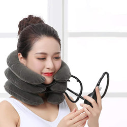 Bestsellrz® Cervical Traction Pillow Neck Stretch Traction Puller Device at Home Collarino Grey Cervicollar™