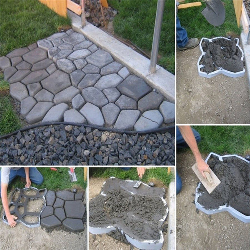 Bestsellrz® Concrete Stepping Stone Molds DIY Pavers Path Maker - Moldium™ Paving Molds 9-stone mould Moldium™