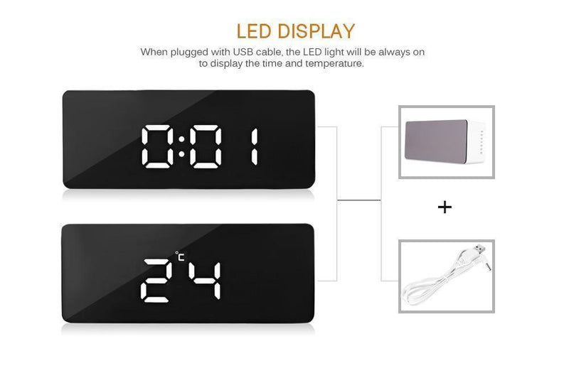 Bestsellrz® Digital Alarm Clock Smart Mirror Desktop Bedside Nightlight - MirrorTouch™ Alarm Clocks MirrorTouch™
