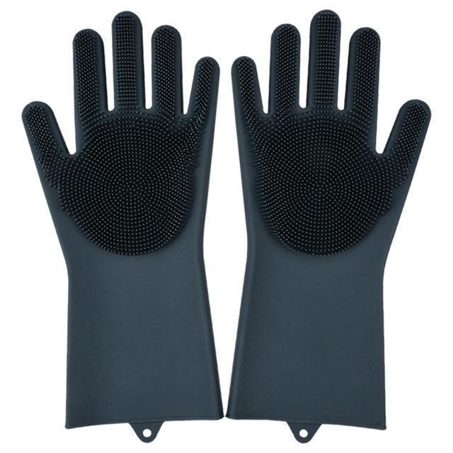 Bestsellrz® Dish Washing Gloves Silicon Scrubbing Sponge - Scruves™  Household Gloves Black Scruves™