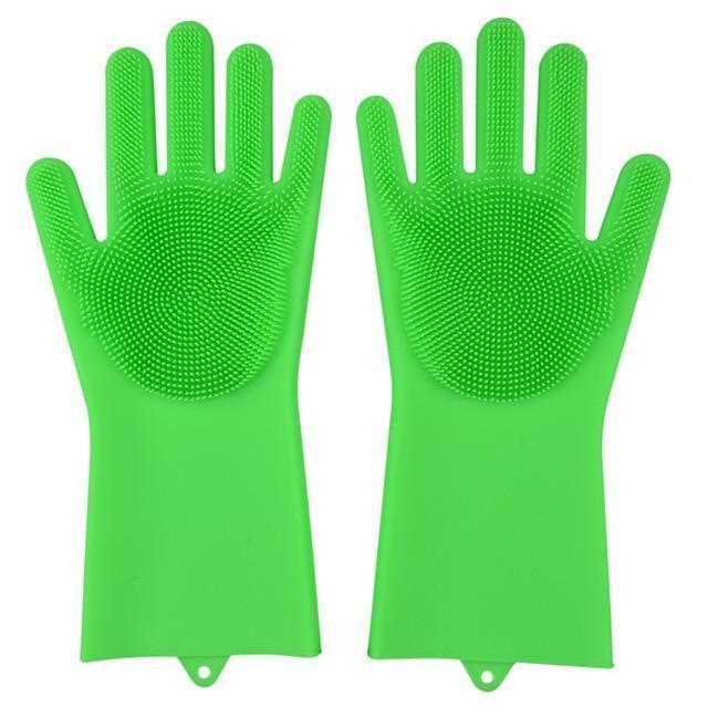 Bestsellrz® Dish Washing Gloves Silicon Scrubbing Sponge - Scruves™  Household Gloves Grass Green Scruves™