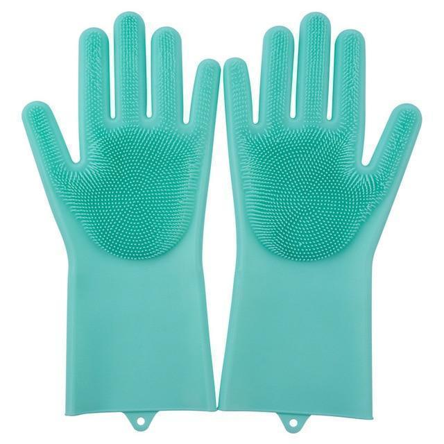 Bestsellrz® Dish Washing Gloves Silicon Scrubbing Sponge - Scruves™  Household Gloves Green Scruves™