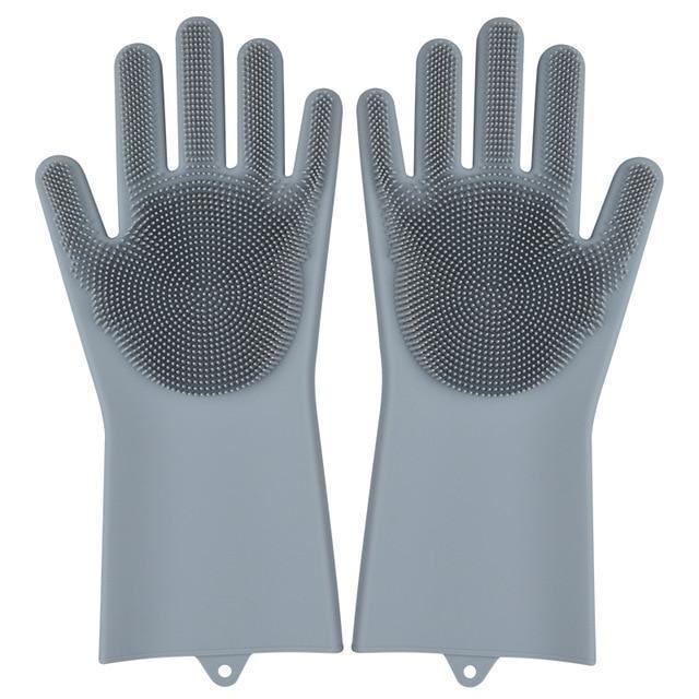 Bestsellrz® Dish Washing Gloves Silicon Scrubbing Sponge - Scruves™  Household Gloves Grey Scruves™